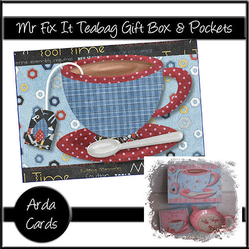 Mr Fix It Gift Box & Teabag Pockets - The Printable Craft Shop