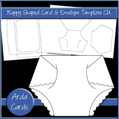 Nappy Shaped Card & Envelope CU Template - The Printable Craft Shop