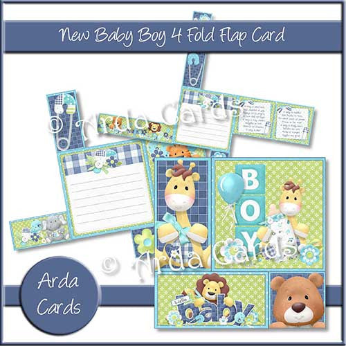 New Baby Boy 4 Fold Flap Card - The Printable Craft Shop - 1