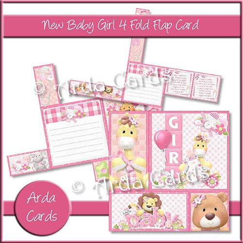 New Baby Girl 4 Fold Flap Card - The Printable Craft Shop - 1