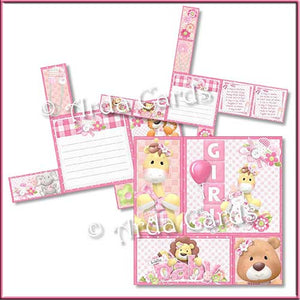 New Baby Girl 4 Fold Flap Card - The Printable Craft Shop - 2