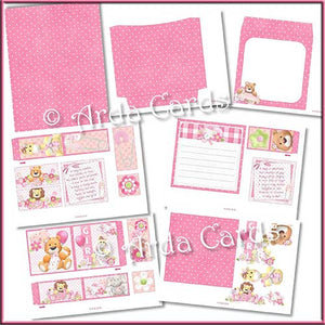 New Baby Girl 4 Fold Flap Card - The Printable Craft Shop