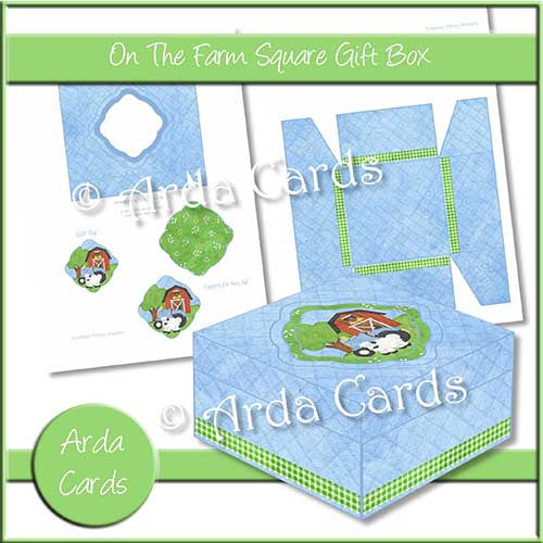 On The Farm Square Printable Gift Box - The Printable Craft Shop