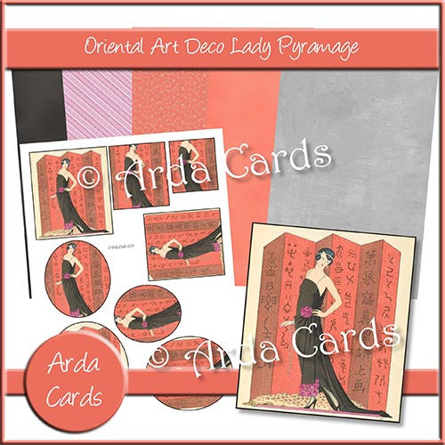 Oriental Art Deco Lady Pyramage Set - The Printable Craft Shop