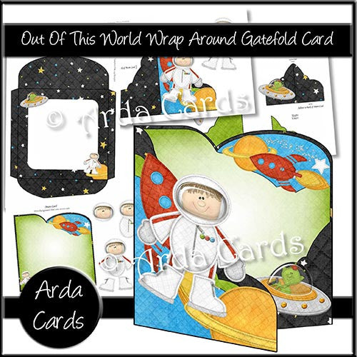Out Of This World Wrap Around Gatefold Card - The Printable Craft Shop