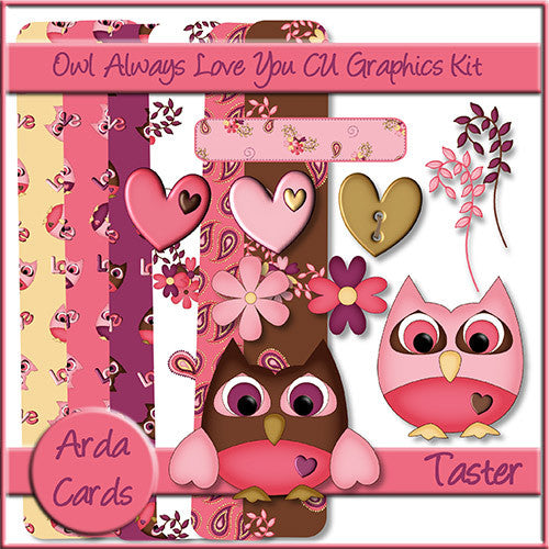 Owl Always Love You! CU Graphics Kit Taster Kit - The Printable Craft Shop