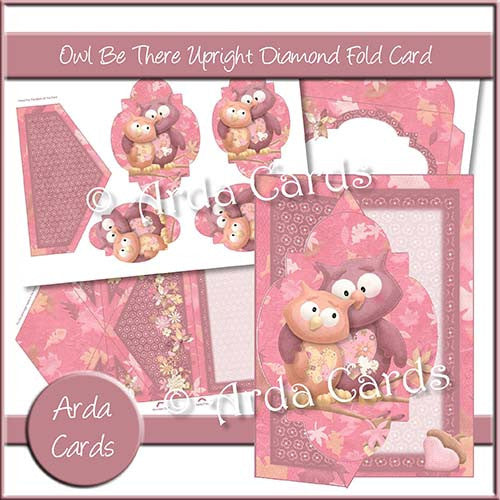 Owl Be There Upright Diamond Fold Card - The Printable Craft Shop