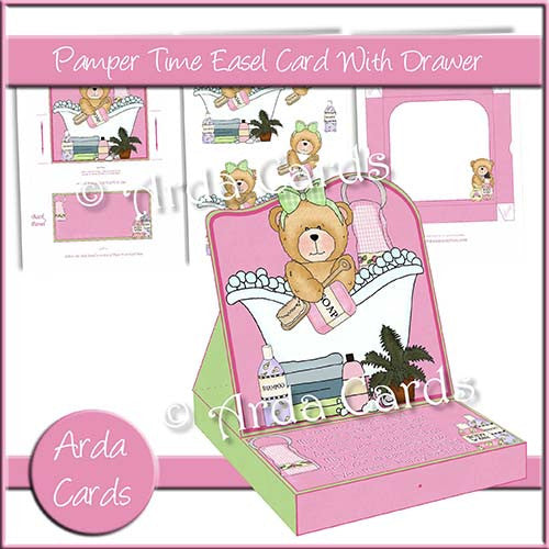 Pamper Time Easel Card With Drawer - The Printable Craft Shop