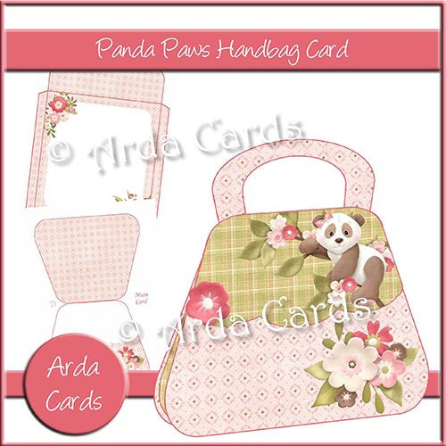 Panda Paws Handbag Card - The Printable Craft Shop
