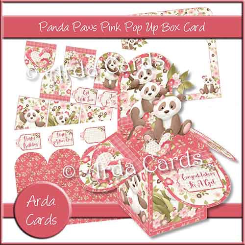 Panda Paws Pink Pop Up Box Card