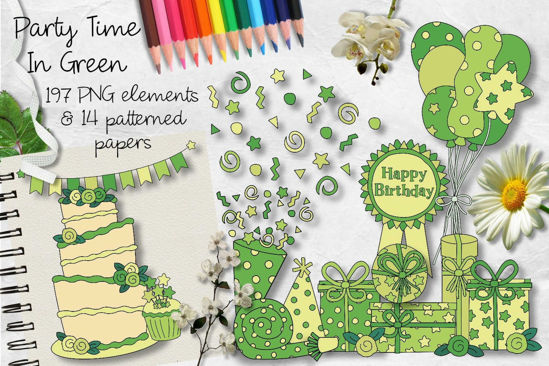 Party Time In Green CU Clipart & Paper