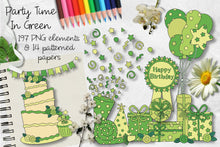 Load image into Gallery viewer, Party Time In Green CU Clipart & Paper