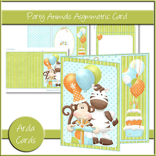 Party Animals Asymmetric Card - The Printable Craft Shop