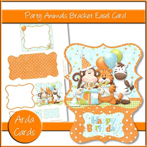 Party Animals Bracket Easel Card - The Printable Craft Shop