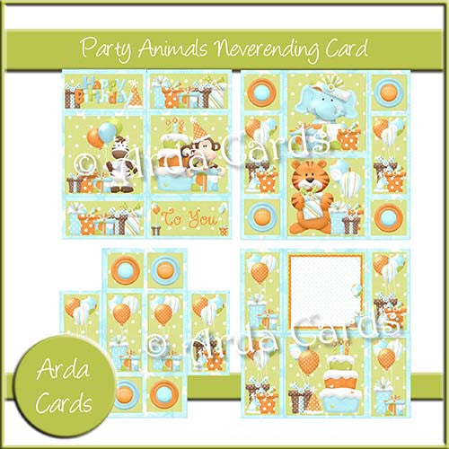 Party Animals Neverending Card - The Printable Craft Shop