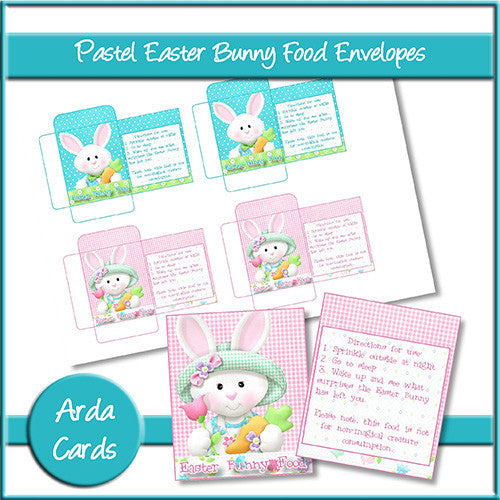 Pastel Easter Bunny Food Envelopes - The Printable Craft Shop