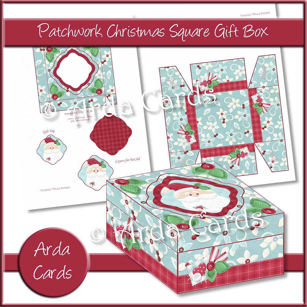 Patchwork Christmas Square Gift Box