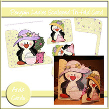 Load image into Gallery viewer, Penguin Ladies Tri-Fold Card - The Printable Craft Shop