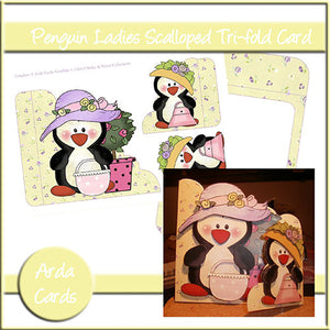 Penguin Ladies Tri-Fold Card - The Printable Craft Shop