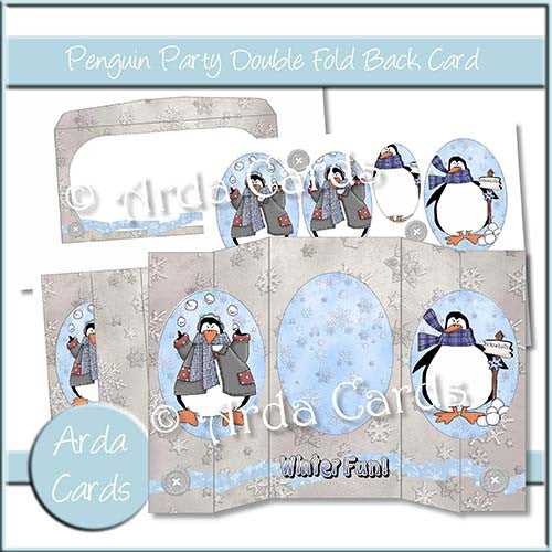 Penguin Party Double Foldback card - The Printable Craft Shop
