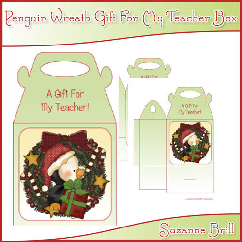 Penguin Wreath Gift For My Teacher Box - The Printable Craft Shop