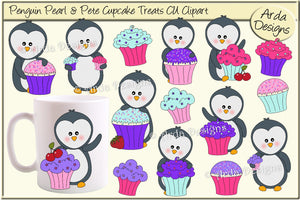 Penguin Pearl & Pete Cupcake Treats CU Clipart