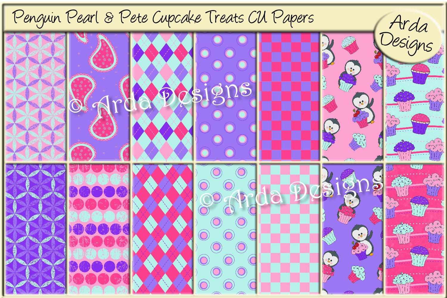 Penguin Pearl & Pete Cupcake Treats CU Papers
