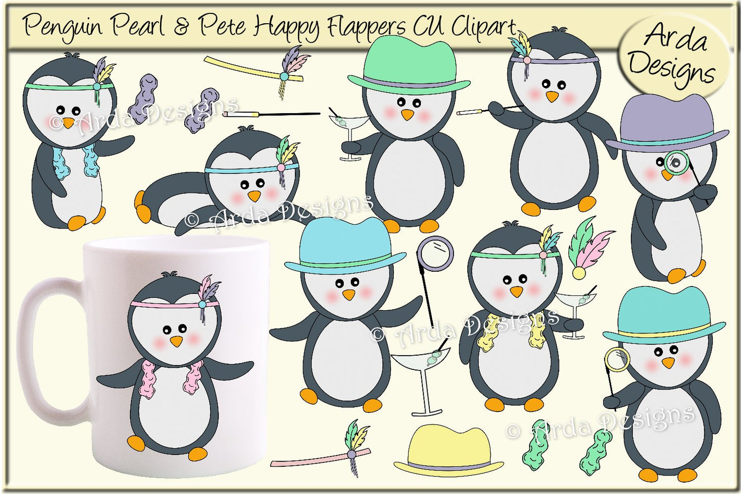 Penguin Pearl & Pete Happy Flappers CU Clipart