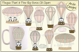 Penguin Pearl & Pete Sky Stories CU Clipart