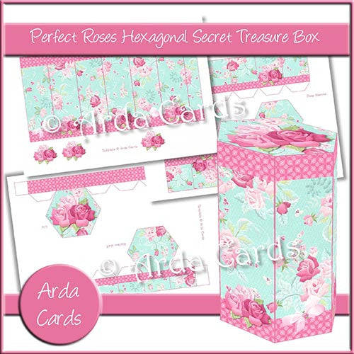 Perfect Roses Hexagonal Secret Treasure Box - The Printable Craft Shop