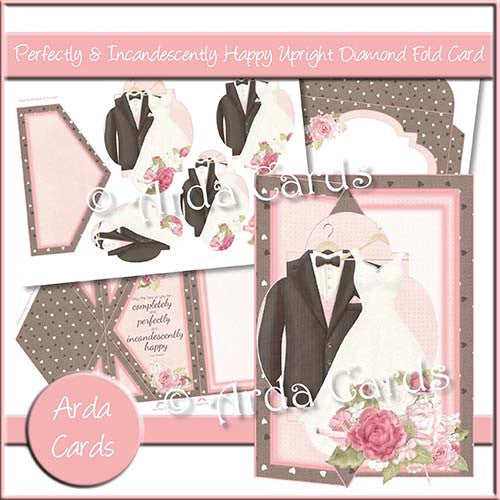 Perfectly & Incandescently Happy Upright Diamond Fold Card - The Printable Craft Shop