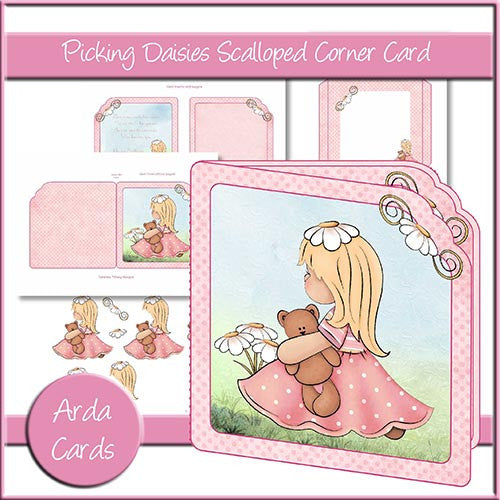 Picking Daisies Scalloped Corner Card - The Printable Craft Shop
