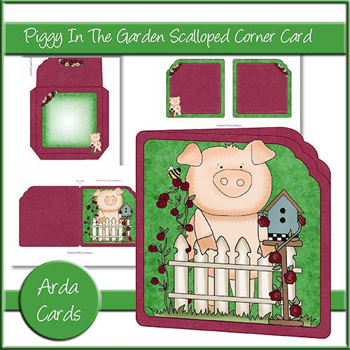 Piggy In The Garden Scalloped Corner Card - The Printable Craft Shop