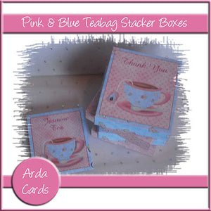 Pink & Blue Teabag Stacker Boxes - The Printable Craft Shop
