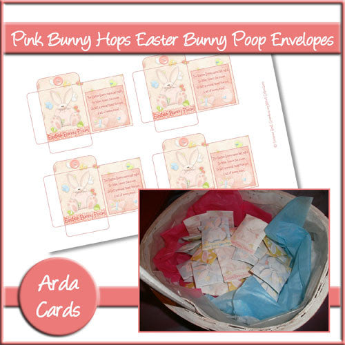 Easter Bunny Poop Envelopes - Pink - The Printable Craft Shop