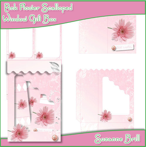 Pink Flower Scalloped Window Gift Box - The Printable Craft Shop