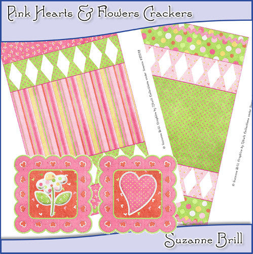Pink Hearts & Flowers Crackers - The Printable Craft Shop