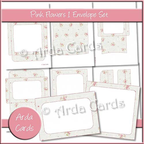 Pink Flowers 1 Envelope Set - The Printable Craft Shop