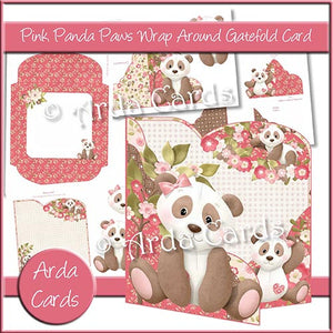 Pink Panda Paws Wrap Around Gatefold Card - The Printable Craft Shop