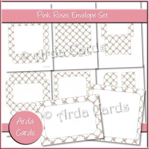 Pink Roses Envelope Set - The Printable Craft Shop
