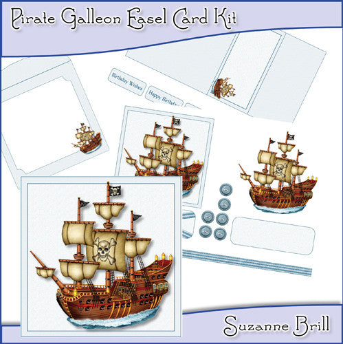 Pirate Galleon Easel Card Kit - The Printable Craft Shop