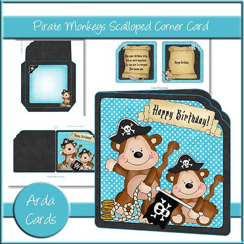 Pirate Monkeys Scalloped Corner Card - The Printable Craft Shop