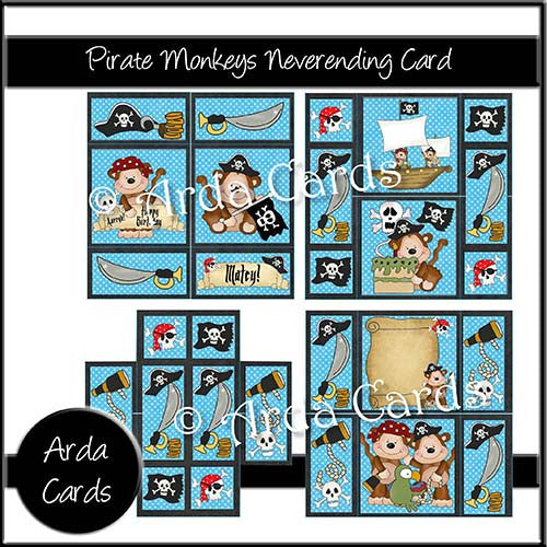Pirate Monkey Neverending Card - The Printable Craft Shop