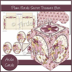 Plum Florals Secret Treasure Box - The Printable Craft Shop