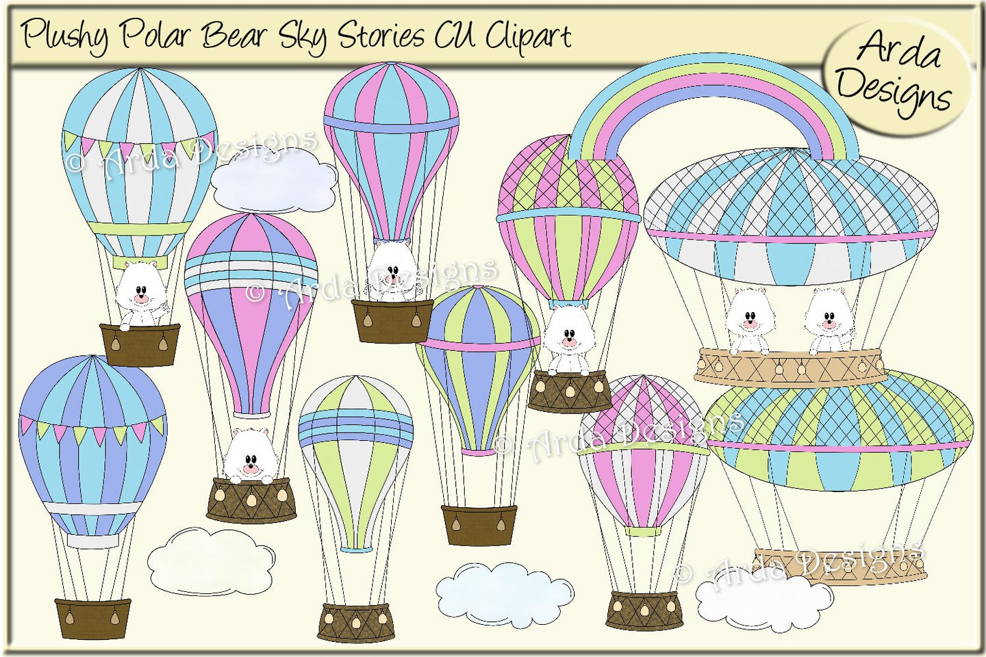 Plushy Polar Bear Sky Stories CU Clipart