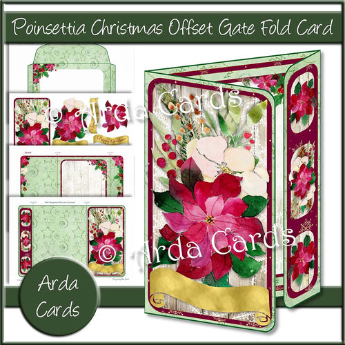 Poinsettia Christmas Offset Gate Fold Card