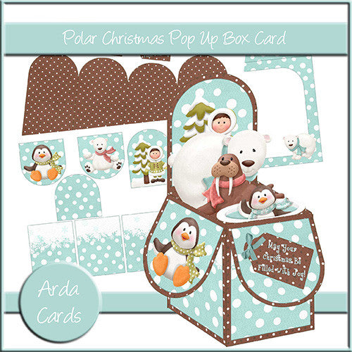 Polar Christmas Pop Up Box Card - The Printable Craft Shop