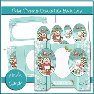 Polar Presents Double Fold Back Card - The Printable Craft Shop
