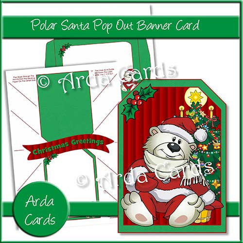 Polar Santa Pop Out Banner Card - The Printable Craft Shop