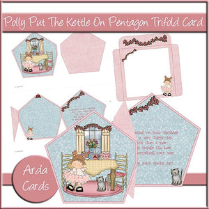 Polly Put The Kettle On Pentagon Tri Fold Card - The Printable Craft Shop